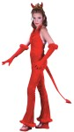 Devilish Devil Velvet Teen Costume - Includes: Halter Jumpsuit with feather trim, devil tail and headband with devil horns. Fits Juniors 0-9.