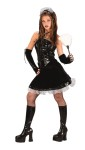 Corset Maid Teen Costume - Mini dress with wet leather look upper bodice, matching glovettes and traditional maid headpiece.  *Feather duster, boots and panty hose not included.