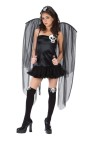 Skull Fairy Teen Costume-Dress with skull accent, wings, thigh hi tights with bow and skull and headband.