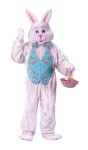 Bunny Adult Costume (W/ Overhead Mask) - Plush jumpsuit, deluxe mascot style head, hands, feet, colorful vest with matching bowtie. *Basket not included.