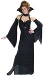 Dark Venus Adult Costume - Youll be a sexy vamp in this great costume! Includes: black stretch pleat halter gown made of sexy stretch pleat fabric, with amethyst shimmer trim, bust tie, keyhole front, seperate choker with attached velvet collar and cascade sleeves.  Dress made of