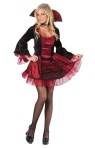 Sassy Victorian Vampiress Adult Costume - Long sleeve mini dress with gothic style collar.