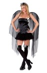Skull Fairy Adult Costume - Mini halter dress with skull accent, gothic style wings, skull top thigh highs and matching headpiece.