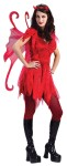 This one is as hot as a Fire Cracker!  Includes: velvet dress with attached belt, apron, shoulder tatters, wings and Devil horn headpiece.