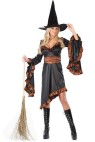 Ruffle Witch Adult Costume - Slant cut dress, drop sleeves, matching belt and hat with ruffle detailing. FW9332 Witch Broom sold separately.