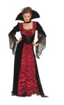 Taffeta Coffin Vampiress Adult Costume - Long flowing dress with lace-up look bodice, low cut, drop sleeves and large standup collar with choker attached. The black part of the dress is made of poly cotton. Shoes not included.