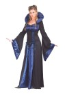 Vampiress Adult Costume - Beautiful satin dress with drop sleeves, ribbon stitch detailing and attached, stand up collar.