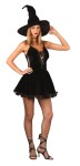 Sexy Witch Adult Costume -  Includes T-strap, short mini dress with low-cut front and witch hat. Shoes and pantyhose not included.