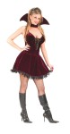 Sexy Plum Vampiress Adult Costume - Lace up bodice mini dress and collar with attached choker. Boots and panty hose not included.