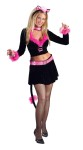 Purr-fect Lady Adult Costume - Long sleeve midriff top with lace-up look front, marabou trim, attached choker, mini skirt with attached tail and belt, cat ears headpiece. *Pantyhose and shoes not included.