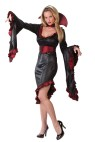 Ruffle Vampiress Adult Costume - Low cut, slant drop dress with ruffle detailing, drop sleeves with large gothic style collar.