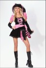 Pirate Punk Adult Costume - This is one sexy pirate! Low cut mini dress with sleevelets, lace up front, hat with ribbons and matching waist scarf.