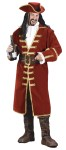 Captain Black Heart Adult Costume - Quality pirate costume includes: pirate coat with gold-colored trim and ruffled cuffs, ruffled shirt front, pirate hat with gold-colored trim and leather-look belt.  One size fits most adults up to size 46.  Boot tops not included.