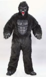 Ferocious Gorilla Adult Costume - Beautiful plush fur suit with vinyl chest, gloves, padded gorilla feet and a deluxe snarling mask with dental style teeth. One size fits 33-45.