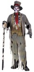 Gauze Groom Adult Costume - Includes: Rotty Hat, Pants, Gauze Jacket, Tie, Gauze Vest, Bone Rib Cage, Printed Shirt, Skeleton Gloves, Gauze Pants Cover. One size fits most adults size 33-45.