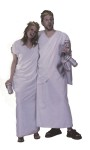 His or her toga costumes includes a white robe, shoulder drape, and gold leaf headpiece. This unisex costume will fit most adults, including those who normally wear plus size.