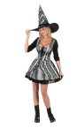 "Gothic Rose Witch Adult Costume - Low cut, lace up front mini dress with 3/4 length sleeves and matching hat all with elegant lace detail. For Plus Size see <a href=""Adult-Goth-Rose-Witch-Grp-123FW5723.aspx"">FW5723.</a>"