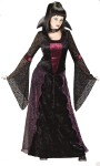 Vamptessa Adult Costume (Plus Size) - Includes: Gown with Lace Sleeves and Gothic Rose Skirt Panels, Collar with medallion and choker. Fits Sizes 16-24.  Dress is 100% knit polyester, except for trim.