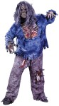 Zombie Adult Costume (Plus Size) - Includes: pants with Zombie thigh and knee bones, Zombie mask, blue tattered shirt with rotted flesh chest, skeletal forearms, skeletal gloves with exposed flash. This gruesome costume is just perfect if you want to attract some attention.
