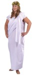Toga! Toga! Adult Costume (Plus Size) - His or her toga costumes includes a white robe, shoulder drape, and gold leaf headpiece. This unisex costume will fit sizes 16-24.  Made of polycotton.