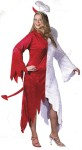 Angel/Devil Adult Costume (Plus Size) - Talk about half & half…part Angel, part Devil!  This costume includes: velvet dress with tail, red/white wings and halo/horn headband. Sizes 16-24.