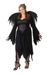 Black Rose Fairy Adult Costume (Plus Size) - Low cut dress with brocade inset front, drop sleeves and accenting fairy wings. Plus Size (16-24). Shoes and stockings not included.
