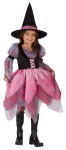 Wonderful Witch Child Costume - Dress with chiffon layered skirt and sheer puffy sleeves and matching witch hat.