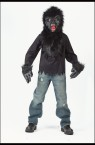 Gorilla Child Costume (W/ Mask) - Full over the head plush fur mask, shirt with plush inset, and vinyl gloves with plush fur cuffs. Pants not included.