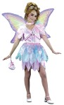 Sparkle Pixie Child Costume - Velvet Dress with attached cord, Waist Tie, Petal Edge Sparkle Apron, Sparkle Wings and Velvet Bag.