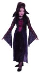 Vamptessa Child Costume - This beautiful vampiress costume includes velvet dress with lace detailing,drop sleeves, belt, and stand up collar with choker attached.