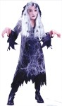 "Spiderweb Guaze Ghost Child Costume - Costume includes: Ghost Wig, Hooded Gauze Coat, Dress with tattered edges and Spider Web detailing with spiders. Also available in Adult Size: <a href=""/SPIDER-WEB-GAUZE-GHOST-ADULT-COSTUME-Grp-123FW5029.aspx"">FW5029</a>."