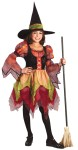 Fairy Witch Child Costume - Includes: colorful multi-tiered dress with puffy shoulders and scalloped sleves/skirt and witch hat with matching hat band.