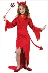 Devil Velvet Child Costume - Includes: Red Devillish  Velvet Gown with feather trim neckline, flame cut front and long sleeves. Choker, Devil Tail and Feather Trim Devil Horn Headband.