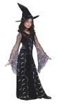 Celestial Sorceress Child Costume - This is one Stylish Sorceress. Includes velvet gown with sheer celestial print detailing, drop sleeves and hat.
