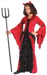 "Devil Princess Child Costume - Includes: dress with coffin lining material inset, bustle and devil horn headpiece. Also available in Adult Size: <a href=""/DEVIL-PRINCESS-ADULT-COSTUME-Grp-123FW1428.aspx"">FW1428</a>."