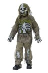 Skeleton Zombie Child Costume - Straight out of a cold, damp grave! Long sleeve shirt and pants with tattered gauze detailing, gloves, latex chest piece and leg bones attached.