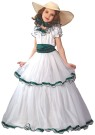 "Southern Belle Child Costume - Finally a childs costume that would fit graciously into the Southern Antebellum period.Costume includes: Beautiful Two-Tier Southern Belle dress with ruffle sleeves and neck. Midriff tie with traditional Southern style hat. Hat includes matching ribbon tie. Hooped bottom gives a rich full look. Also available in Adult Size: <a href=""/SOUTHERN-BELLE-ADULT-COSTUME-Grp-123FW5054.aspx"">FW5054</a>."