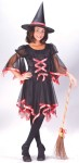 Ribbon Witch Child Costume - Includes sheer dress cover with drop sleeves, scoop neck and matching witch hat. *Shoes, stockings and broom NOT included.