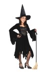 Velvet Witch Child Costume - Includes dress with drop sleeves, shredded dress base and matching tall witch hat. Color: Black. *Shoes, stockings and broom NOT included.