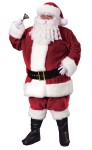 Premium Plush Santa Adult Costume - Deep Crimson Color Trimmed with rich fake rabbit fur. Includes jacket with zipper front and belt loops, pants with side pockets, hat, belt, boot tops and deluxe gloves with snap.