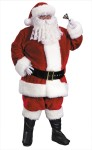Premium Plush Santa Adult Costume (Plus Size) - Trimmed with rich fake rabbit fur. Includes: jacket with zipper front and belt loops, pants with side pockets, hat, belt, boot tops and deluxe gloves with snap.  Elastic waist. Fits chest sizes 58-60.