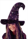 Velvet Witch Hat - Has rainbow colored stars and glitter. Tip of hat turns down for a more traditional witch style look.