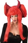 Deluxe Devil Wig - 22 inch long devil wig with large red horns attached.