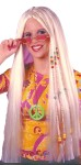 33 inches long. Blonde, 60s style braided wig with beads attached.