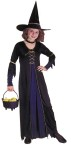 Victorian Witch Child Costume - Includes gown with lace-up bodice and flowing inset, gold trim sleevelets and armbands, choker and witch hat. Kettle not included.