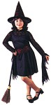 Witch Of The Web Child Costume - Includes short dress with spider webbing accents on neckline and belt, hanging sleeves and witch hat. (Witch broom not included).
