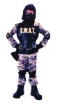 Includes: Camouflage jumpsuit, commando hood with eye protector, 4 piece S.W.A.T. vest, gloves, elbow pads and knee pads.