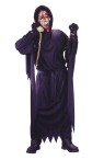Scary Movie Bleeding Wassup Child Costume - Black robe with long scallop sleeves and bleeding mask with hand pump.