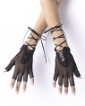 Gothic to the max! Wrist length black fingerless gloves with stretch fishnet and ribbon lace up ties.
