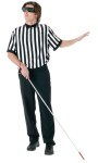 Poly referee jersey with dark sunglasses and blind persons walking stick. One size fits 42-44.